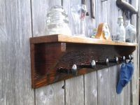 Wormy Chestnut Coat Rack. Barn Wood and Rail Road spike