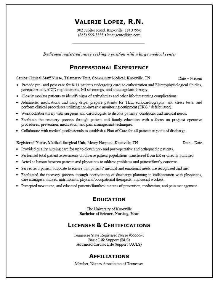 Rn Nursing Resume Examples - Examples of Resumes