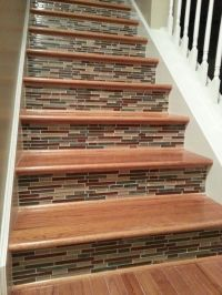 Tile on stair risers.