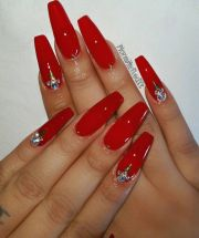 ideas long red nails