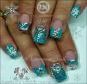 luminous nails turquoise & silver