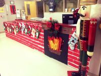 Christmas office decorations. The Nutcracker. Fireplace ...