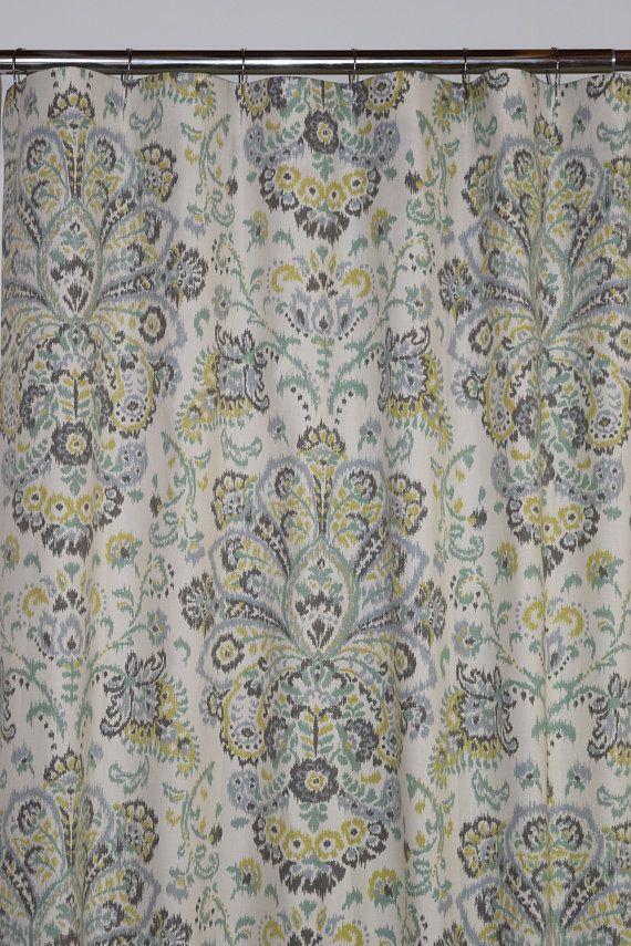 Custom Fabric Shower Curtain Stall 54 X 78 72 X 84 108 Extra Wide Shower Curtain Provence Mist