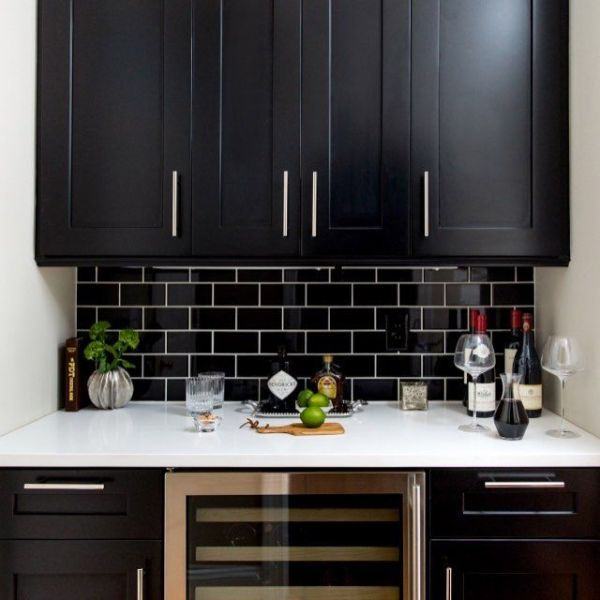 black kitchen tiles Best 25+ Black Subway Tiles ideas that you will like on Pinterest | Black and white bathroom