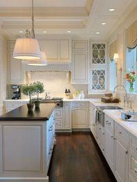 white cabinets, dark countertops, dark floors | At Home ...