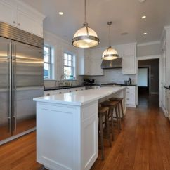 L Shaped Bench Kitchen Table Small Carts On Wheels White With A Skinny Island Flowing Into Living ...