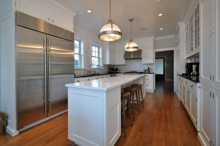 l shaped bench kitchen table mid range cabinets white with a skinny island flowing into living ...