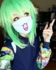 cute anime green hair girl pretty