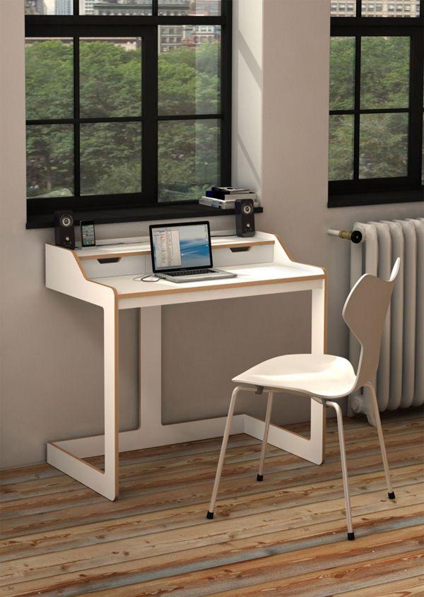 Modern Desks for Small SpacesWhite Wood Modern Desk For