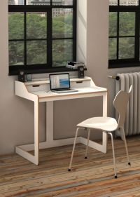 Modern Desks for Small Spaces:White Wood Modern Desk For