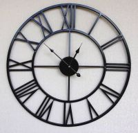 Black Metal Retro Chic Large Wall Clock With Roman ...
