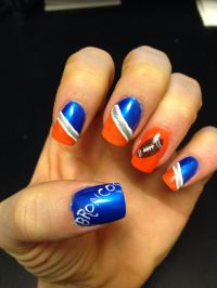 Denver Broncos football nail art for Super Bowl. Painted ...