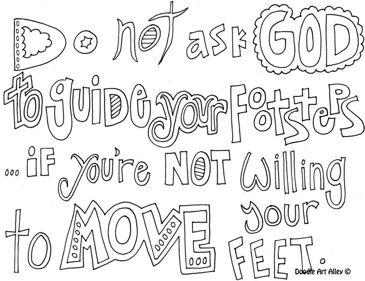 Christian doodle word art coloring page.: Church, Adult