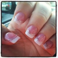 White tip solar nails with silver lining! | Nail Designs ...
