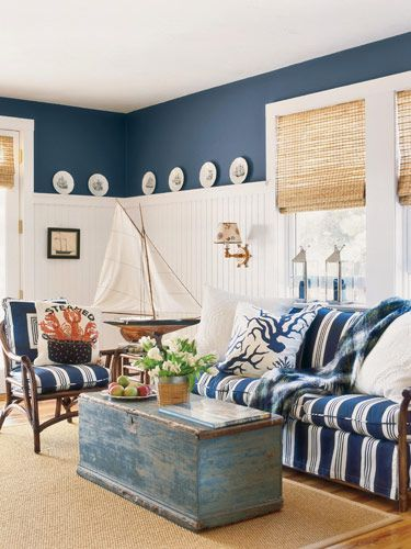 sleeper sofa pottery barn small apartment with chaise beadboard wainscoting, bamboo shades and white living ...