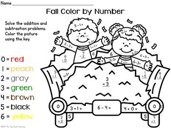 Addition and subtraction, Number worksheets and Color by
