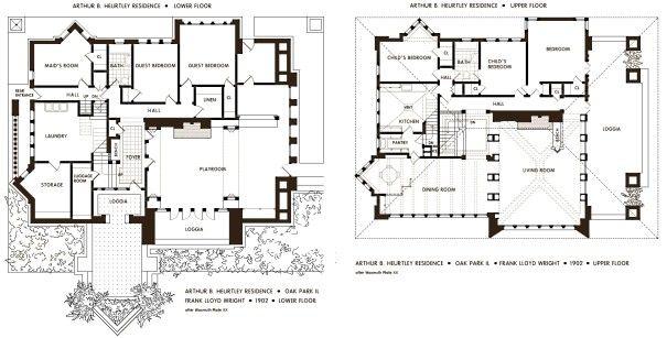 Floor Plan of the Huertley House. Frank Lloyd Wright. Oak
