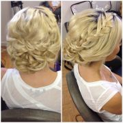 blonde updo braid curly bun