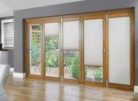 Rustic Window Blind Design In Living Room With Glass Door