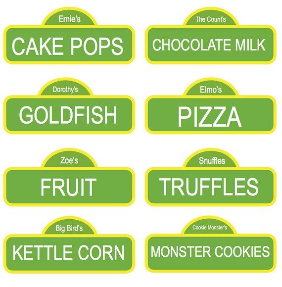 CUSTOM Sesame Street Labels Street Names Sesame Street