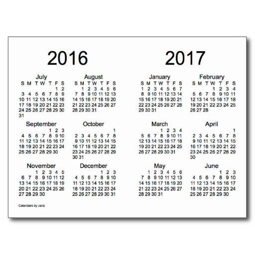2016-2017 School Year Mini Calendar by Janz Postcards