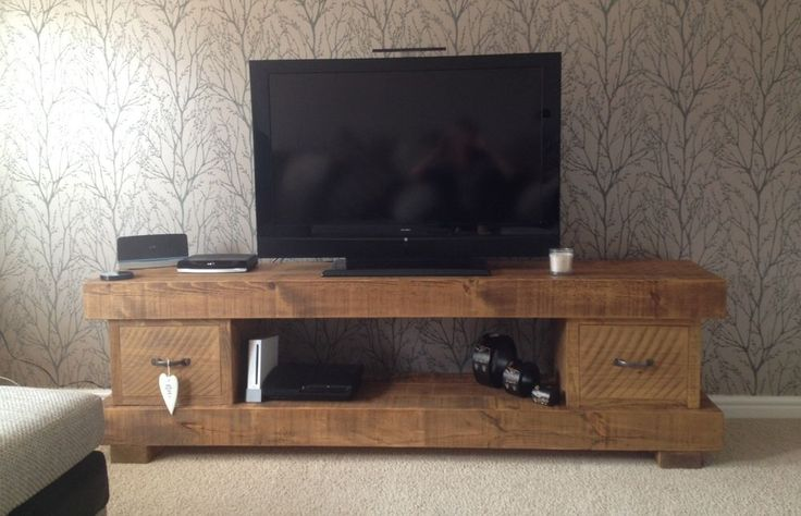 EXTRA CHUNKY SOLID WOOD TV UNIT CABINET STAND RUSTIC PLANK