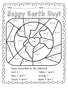 Earth Day: Add and Color Activity $1.50. Fun addition