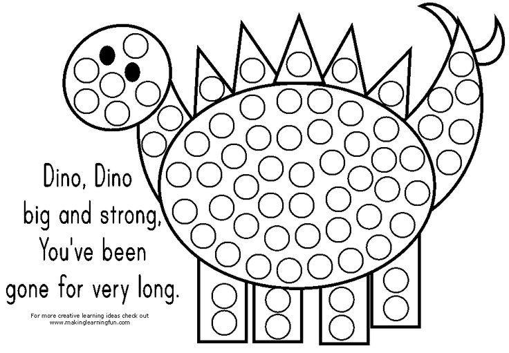 Dinosaur themed Bingo Dauber/ Stickers Coloring Page Use