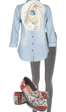 """legings, denim, scarf, and toms"" by its-a-girl-thingg on Polyvore: ""legings, denim, scarf, and toms"" by its-a-girl-thingg on Polyvore"
