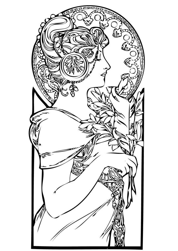 Dessin Vrouw Alfons Mucha: Tekening-Kleurplaat-Patroon