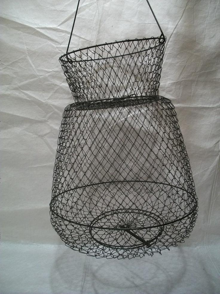 Vintage Fishing Basket Shrimp Trap Wire Crawfish Basket