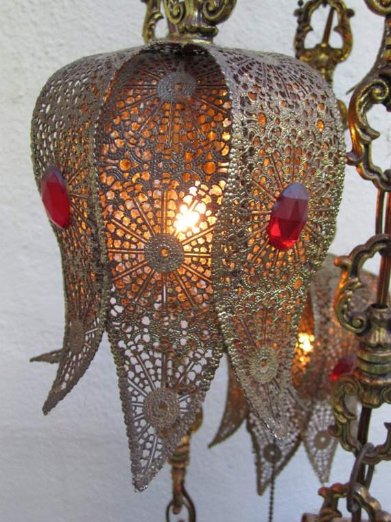 VINTAGE HANGING SWAG 5 Light  Lamp  Moroccan Style 299