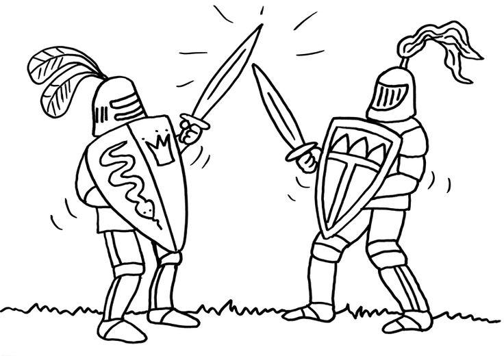 Ausmalbild Ritter: Zwei Ritter beim Schwertkampf kostenlos