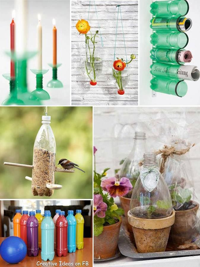 recycled water bottles-I like the idea of using them to make a mini green house