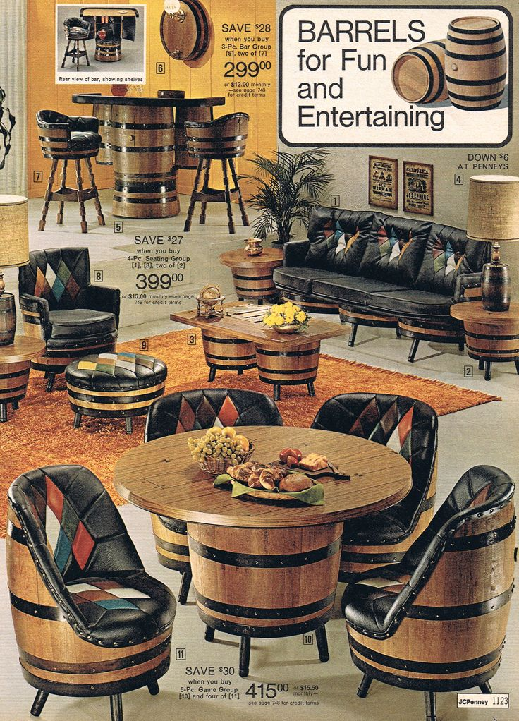 Barrel furniture  JCP 1975  Space Aged and 70s