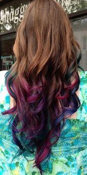 dip dye hair - brown pink-green-blue-purple