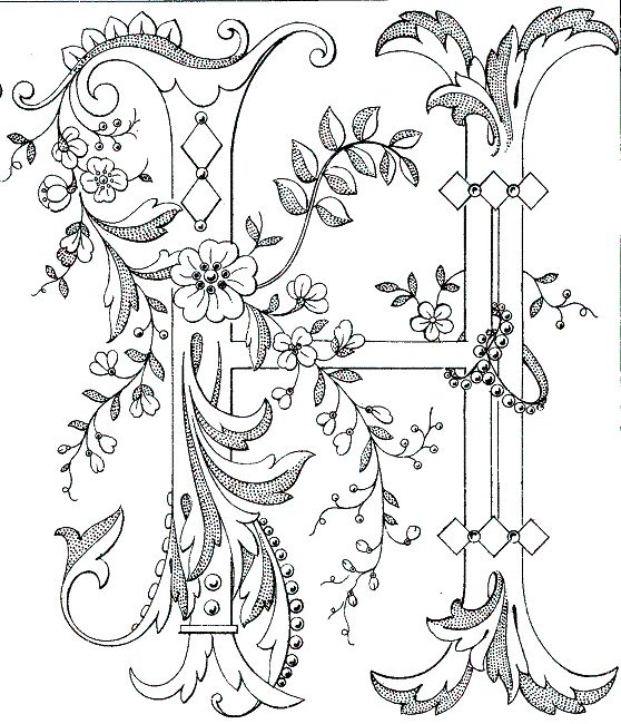 Fancy monogram: Link to Antique Pattern Library, all