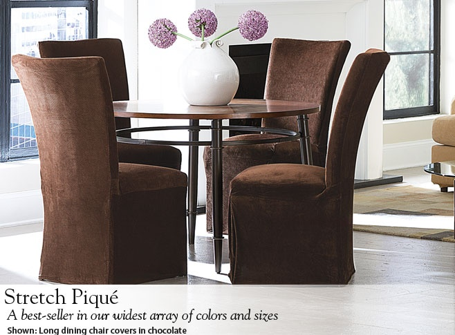 Stretch Pique Long Dining Chair Covers In Chocolate To