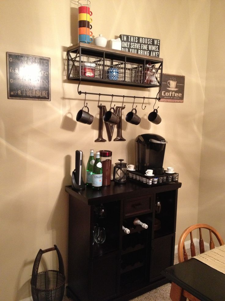 Coffee and Wine nook Shelf from Hobby Lobby and wine rack available at Bed Bath and Beyond The