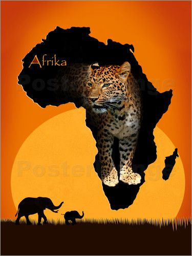 Poster Afrika der schwarze Kontinent  Romantic Art and By