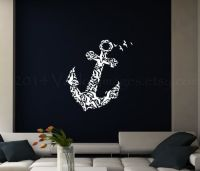 Anchor with birds wall decal wall sticker nautical by
