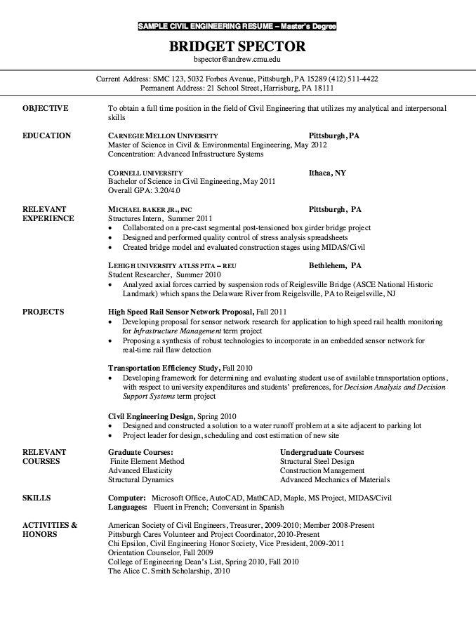 Resume for Master Degree Civil Engineering  httpresumesdesigncomresumeformasterdegree