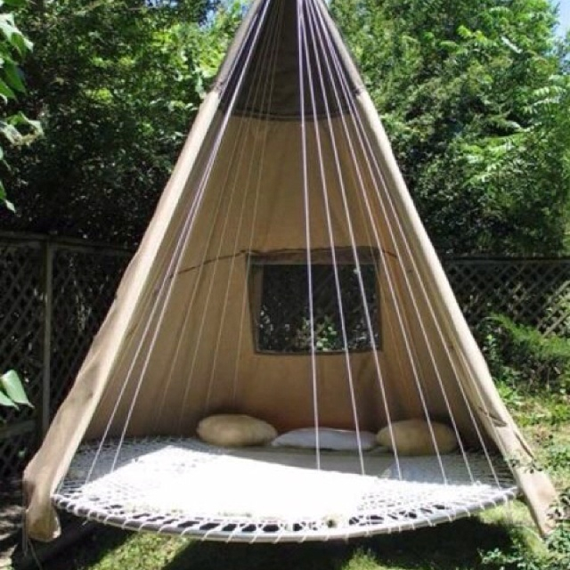 swing chair with canopy diy accent covers hanging teepee/ hammock | hammocks pinterest awesome, old trampoline and backyards