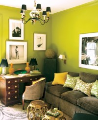 Chartreuse walls paired with yellow accents in Peking