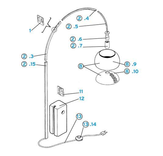 Flos Arco Floor Lamp Parts