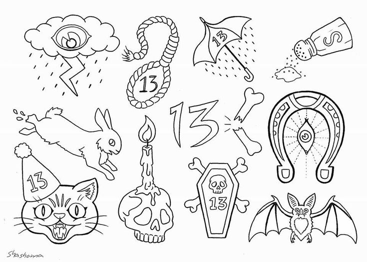 Friday the 13th tattoo flash sheet by Shashonna Knecht