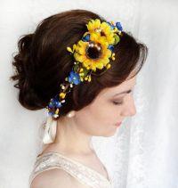 sunflower hair circlet yellow flower crown bridal by ...
