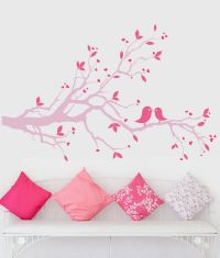 Pink tree branch wall decal pink lovebirds wall art pink ...