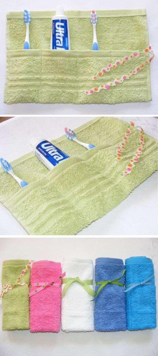 Travel tip. Sew a few stitches on a towel and keep your toiletry dry. A fun gift idea, too. DIYThese would make great gifts for the travelers in my life :) @ DIY Home