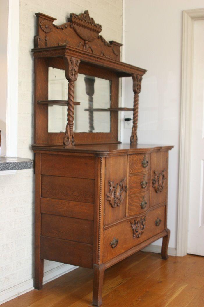 Antique Oak HUTCH Highboy Cabinet Sideboard Buffet W